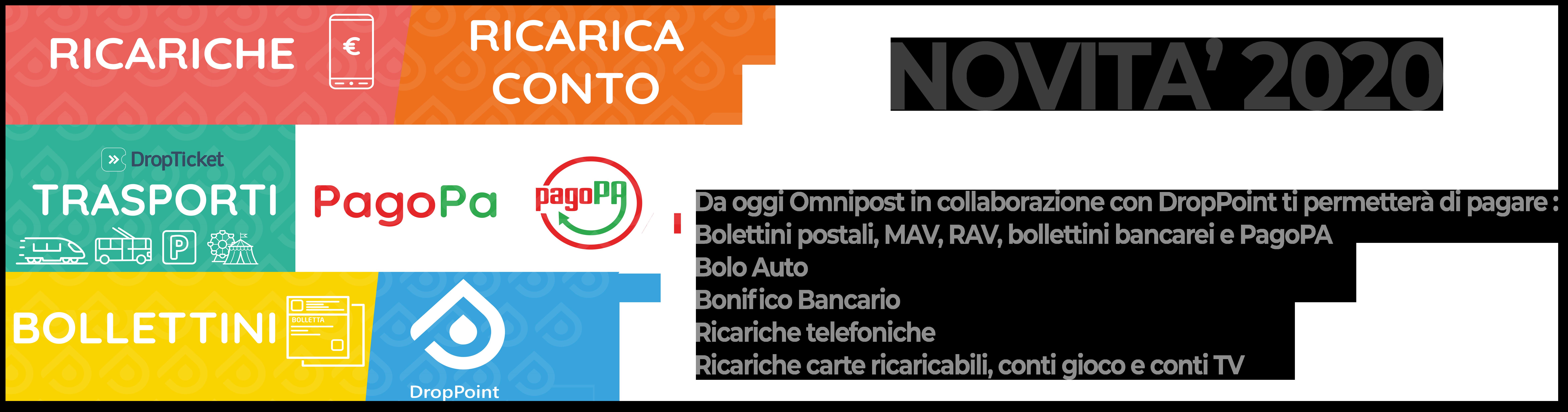 Nuovi servizi Omnipost - Pagamento bollettini MAV ricariche telefoniche Bonifici bancari
